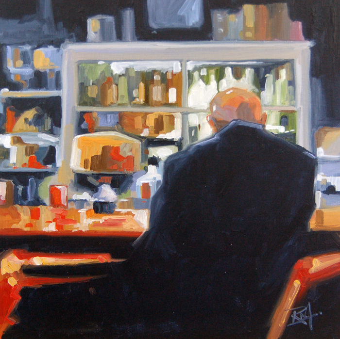 """No 398 One at the Counter"" original fine art by Robin J Mitchell"