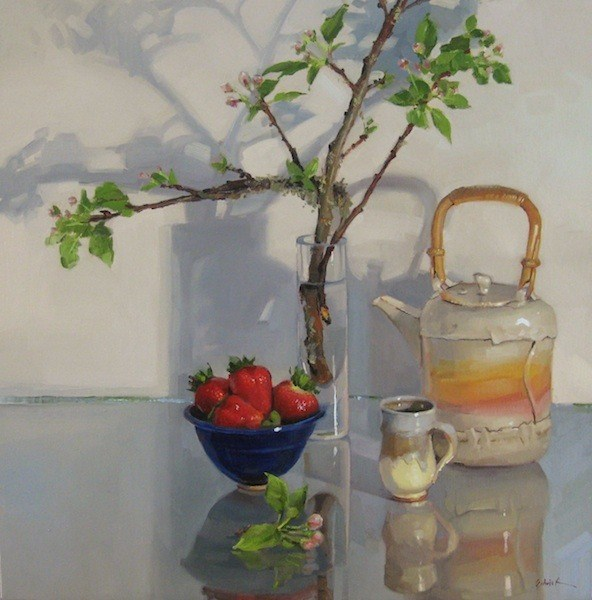 """A Contemplation of Springtime large oil painting still life fruit flowers teapot"" original fine art by Sarah Sedwick"