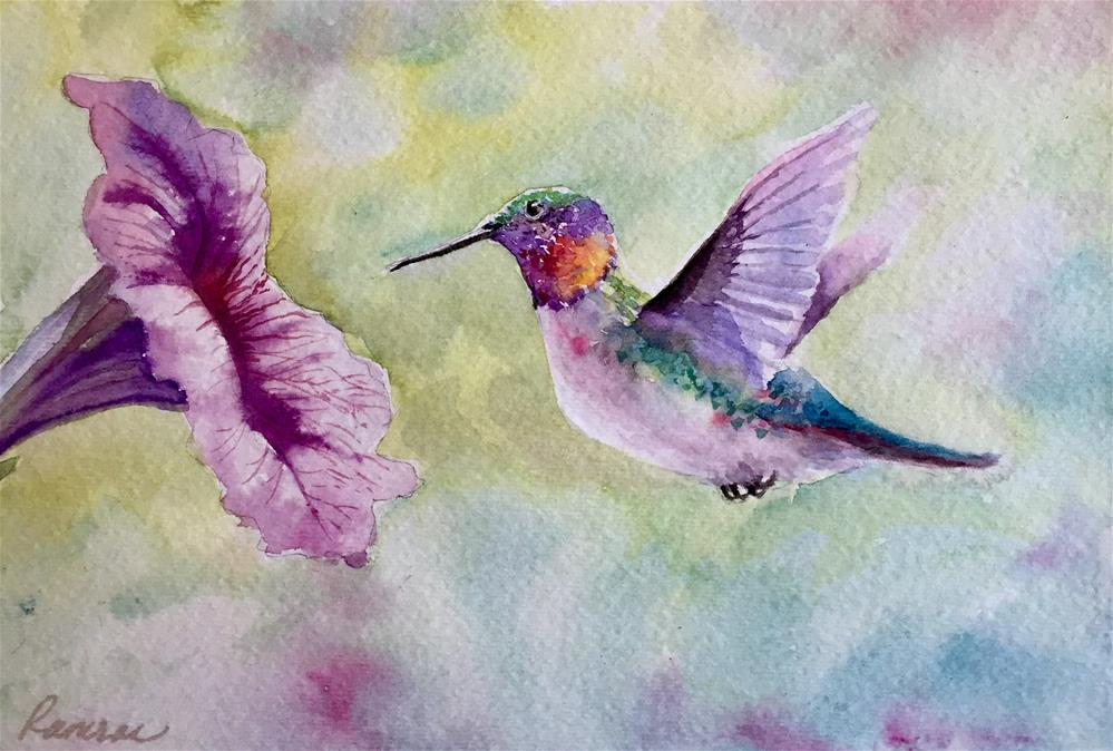 """Hummingbird 2"" original fine art by Natasha Ramras"