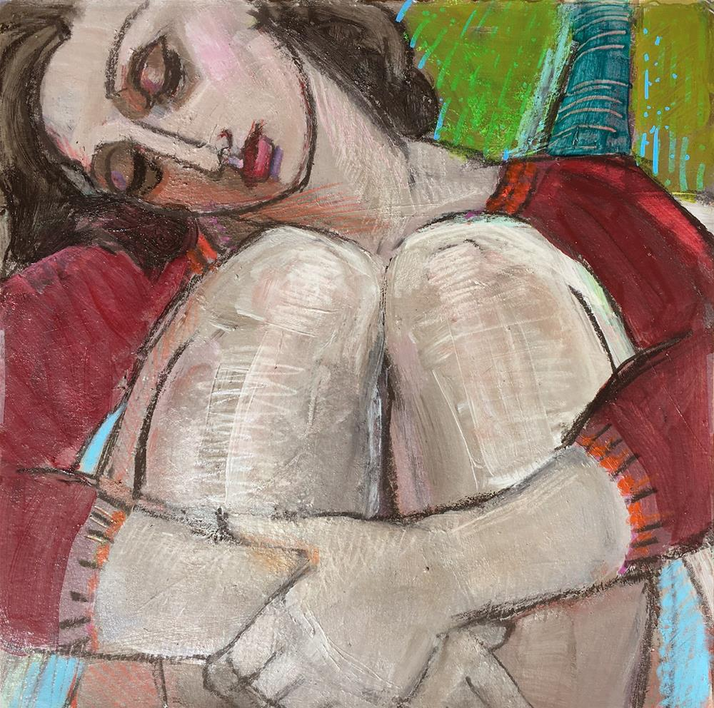 """Sleeping woman, female asleep, female figuration, contemporary figure painter, figure study, woman a"" original fine art by Marie Fox"
