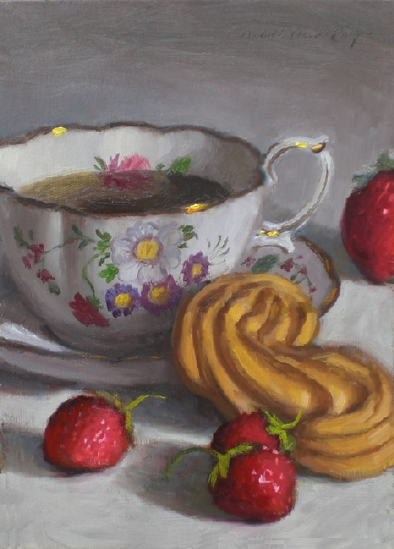 """Tea with S Cookie"" original fine art by Debra Becks Cooper"