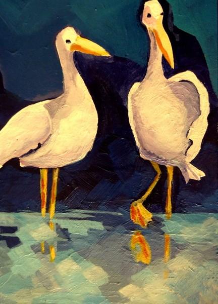 """Gossip Birds"" original fine art by Laurie Mueller"