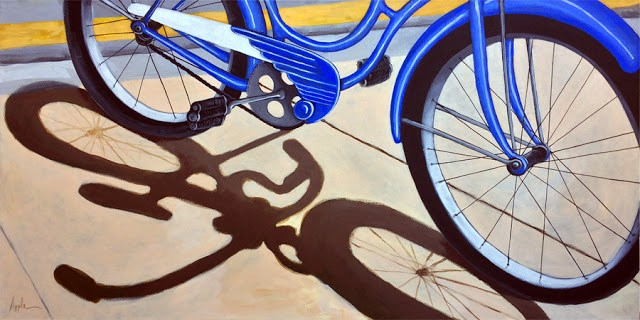 """Old Blue bicycle large 24x48 commissioned bicycle painting"" original fine art by Linda Apple"