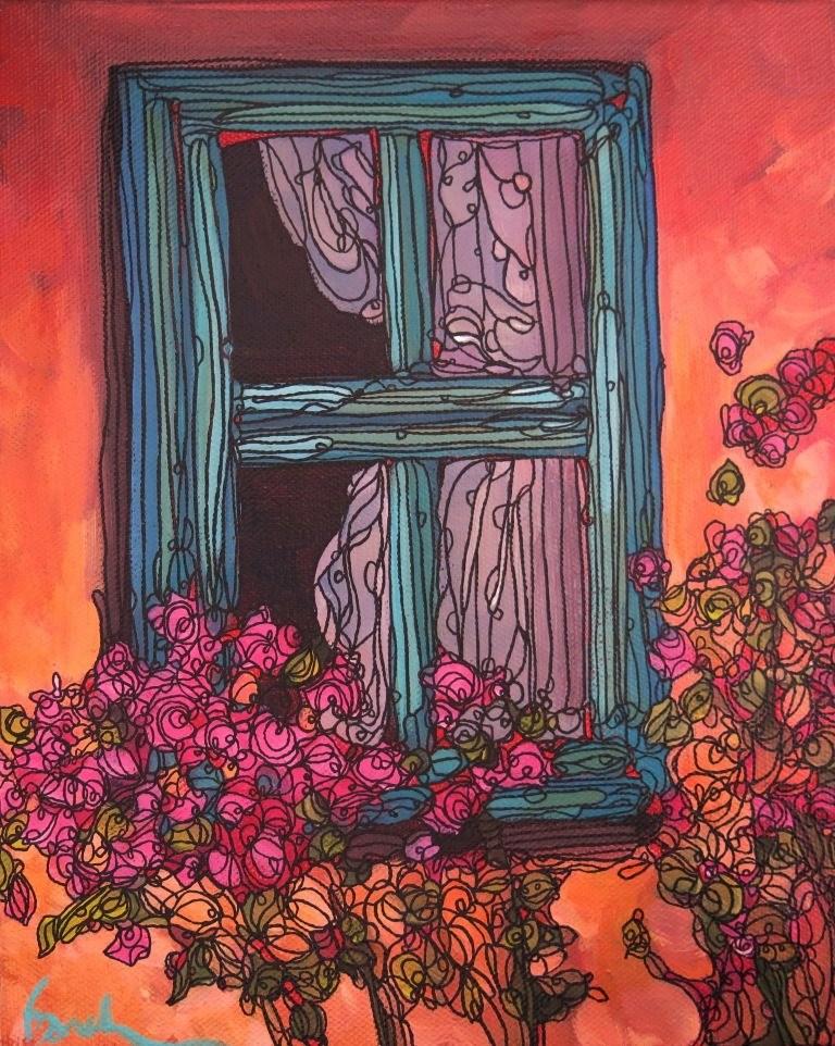 """147 ADOBE WITH PINK"" original fine art by Dee Sanchez"