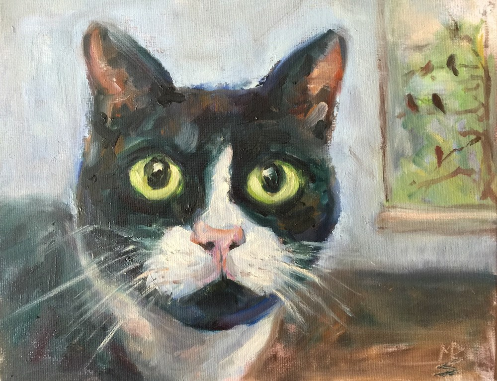 """Tux"" original fine art by Mary Schiros"