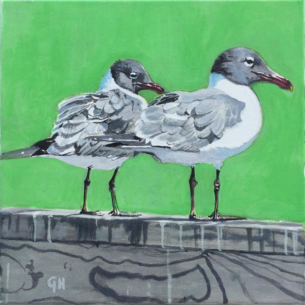 """Two Seagulls"" original fine art by Garima Heath"