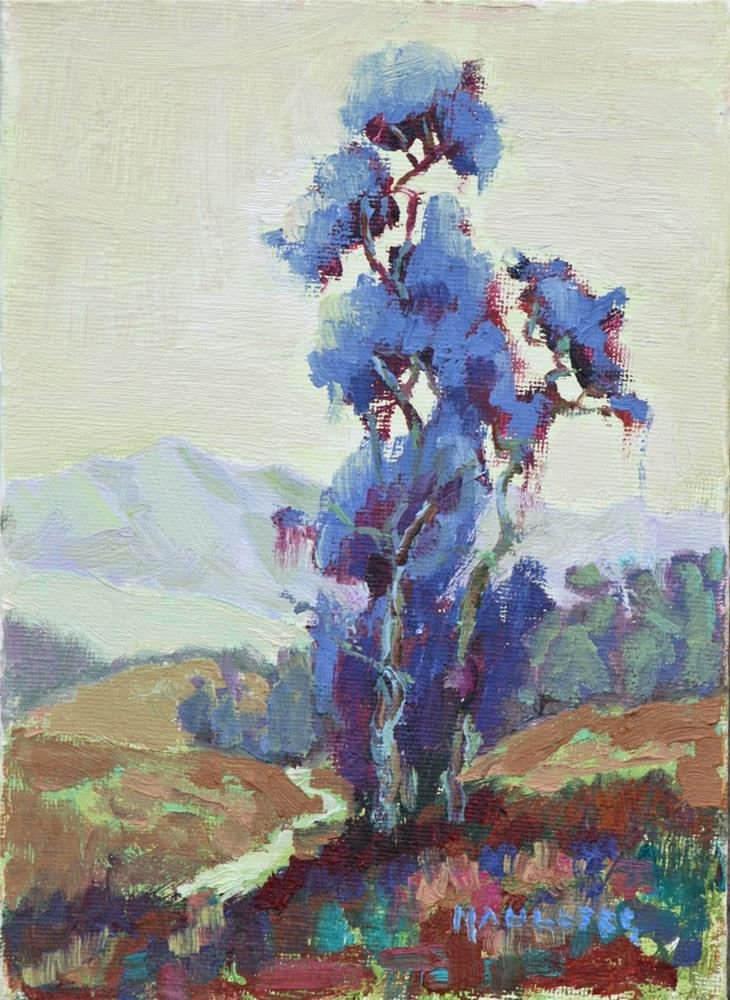 """Eucalyptus Periwinkle"" original fine art by Cynthia Mahlberg"
