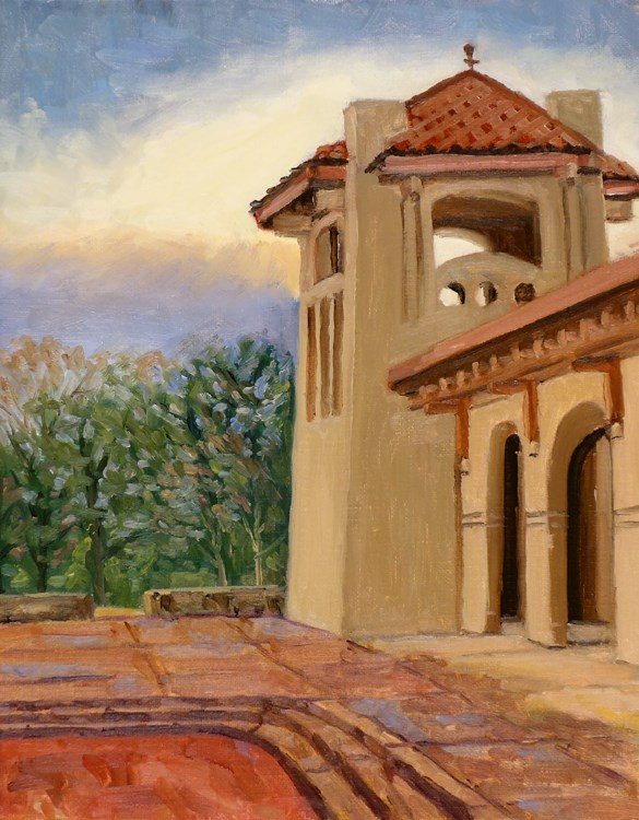 """East Tower Worlds Fair Pavillion en plein air"" original fine art by Daniel Fishback"