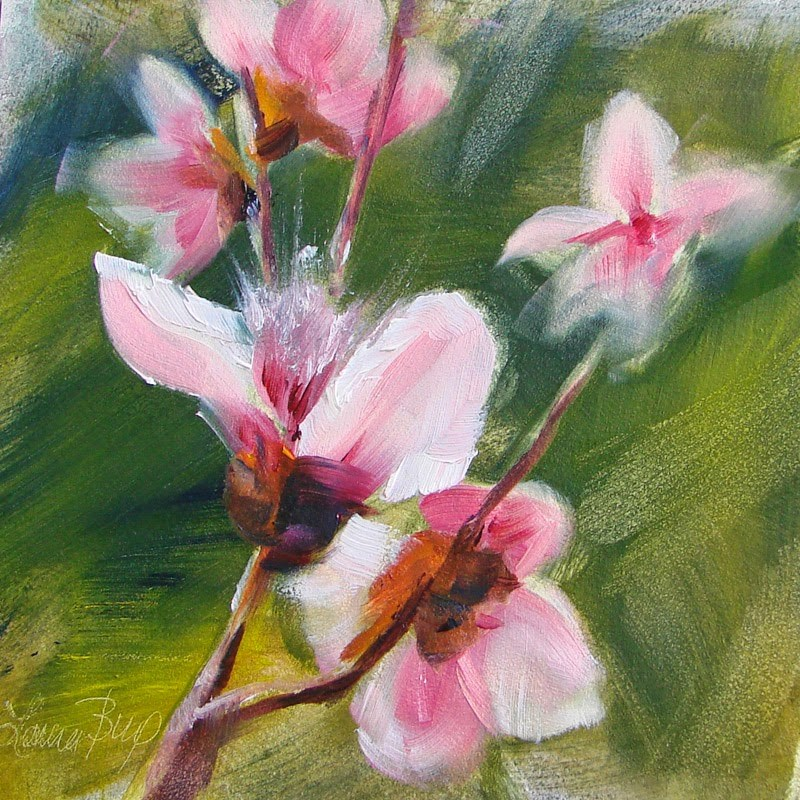 """Peach Blossoms 213"" original fine art by Laura  Buxo"