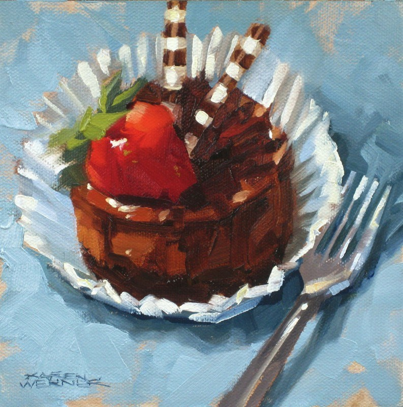 """Chocolate Cheesecake"" original fine art by Karen Werner"