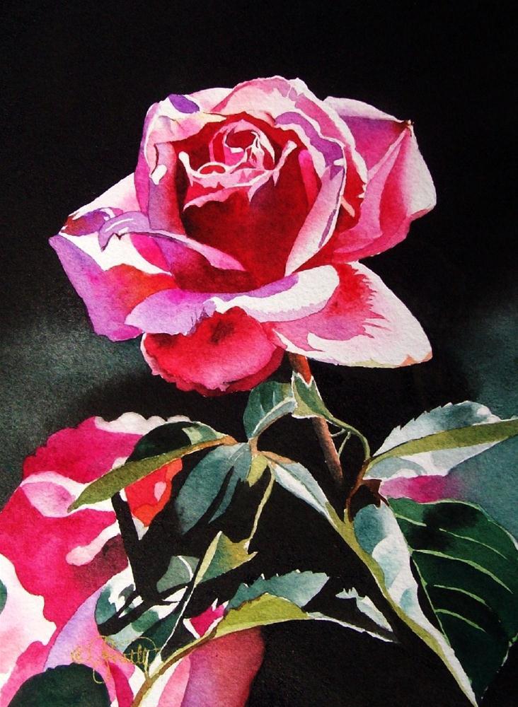 """Pink Rose Garden"" original fine art by Jacqueline Gnott, whs"