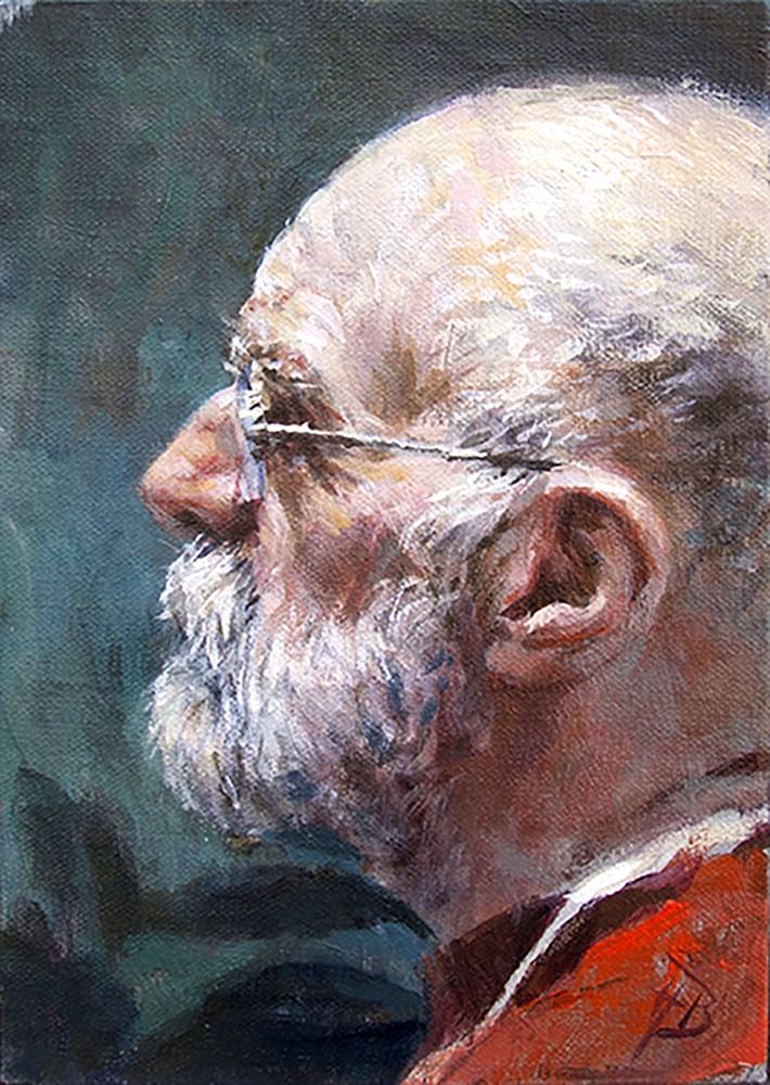 """""""man in red"""" original fine art by Harry Burman"""
