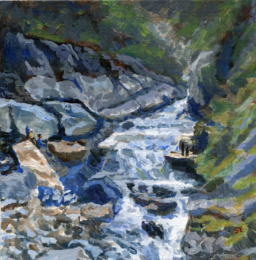 """""""Bhutan Cascade"""" original fine art by Stanley Epperson"""