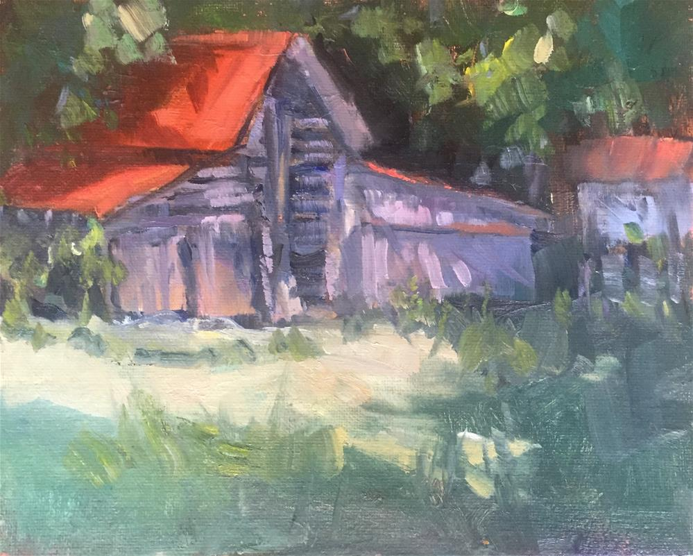 """The Bright Red Roof"" original fine art by Connie Snipes"