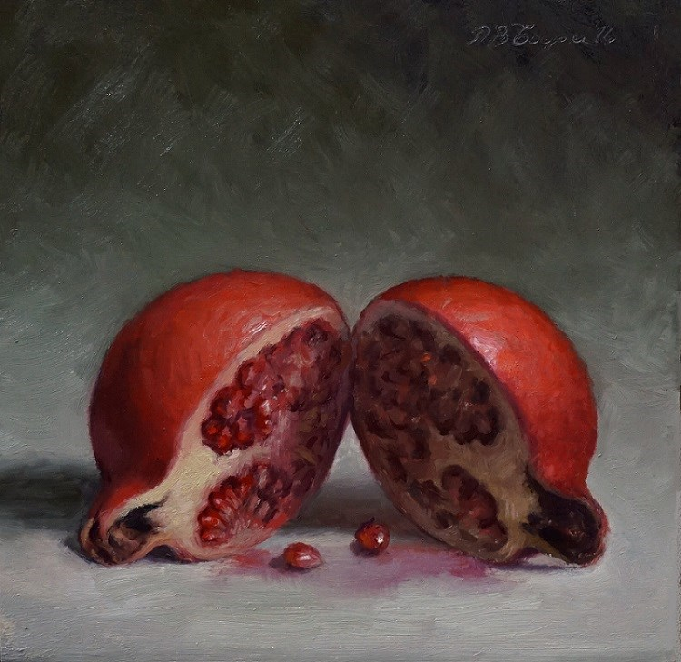 """Halved Pomegranate"" original fine art by Debra Becks Cooper"