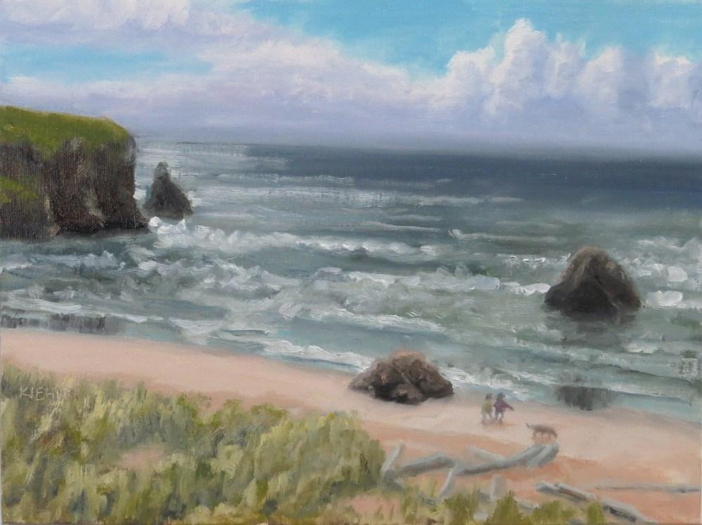 """A Walk on the Beach"" original fine art by Richard Kiehn"