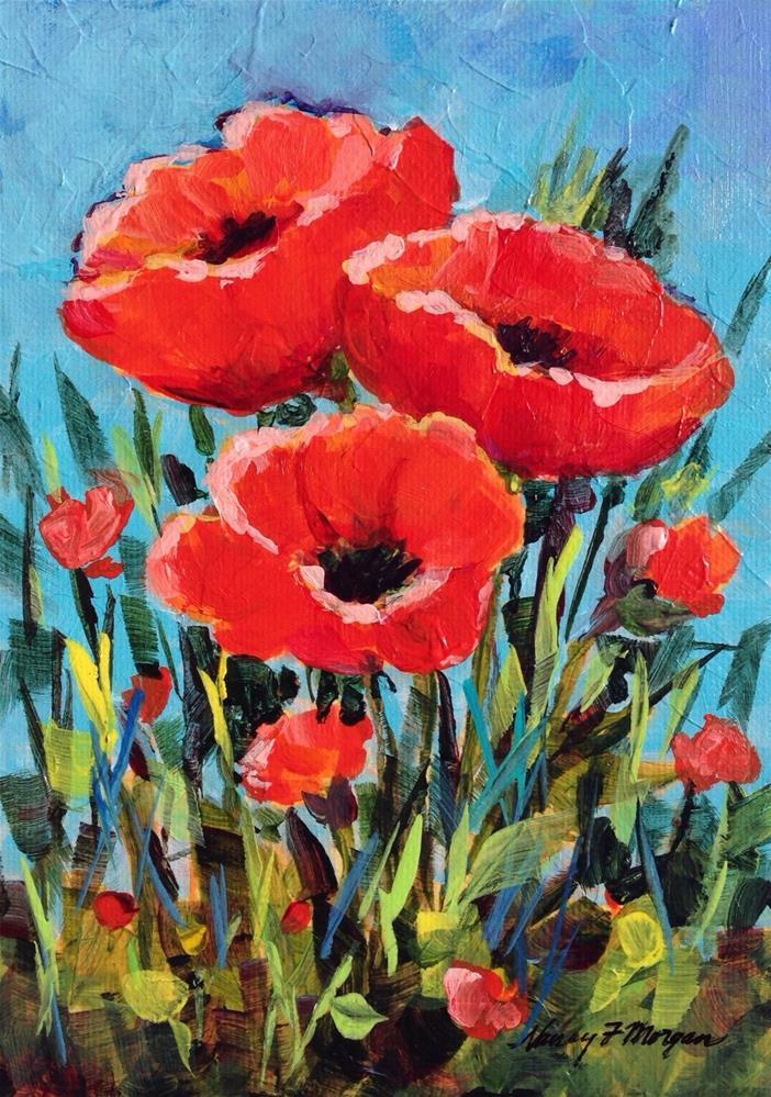 """Poppy Time"" original fine art by Nancy F. Morgan"