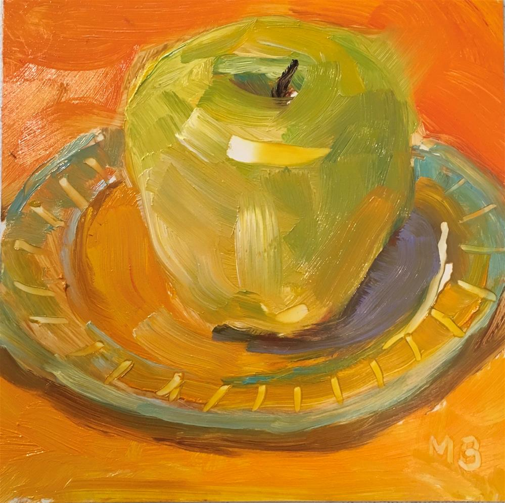 """Golden Apple"" original fine art by Marcia Bergtholdt"