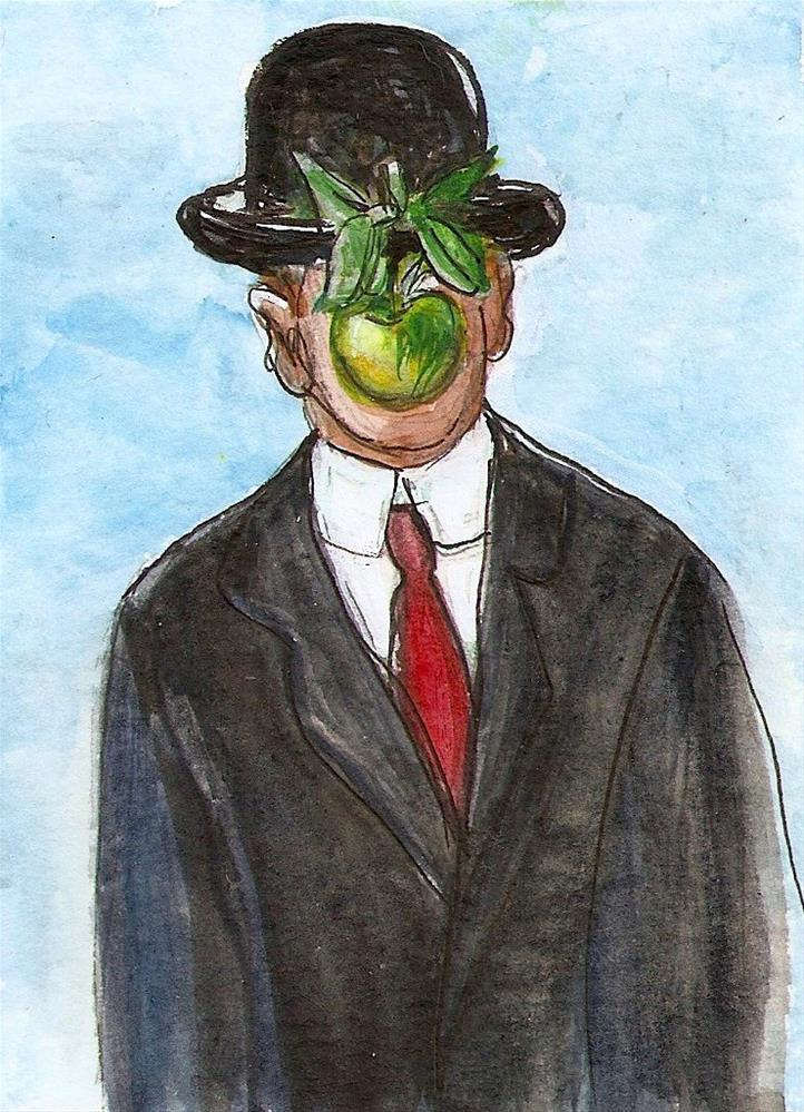 """ACEO NFAC Something Hidden Magritte Style Son of Man Painting Penny Lee StewArt"" original fine art by Penny Lee StewArt"