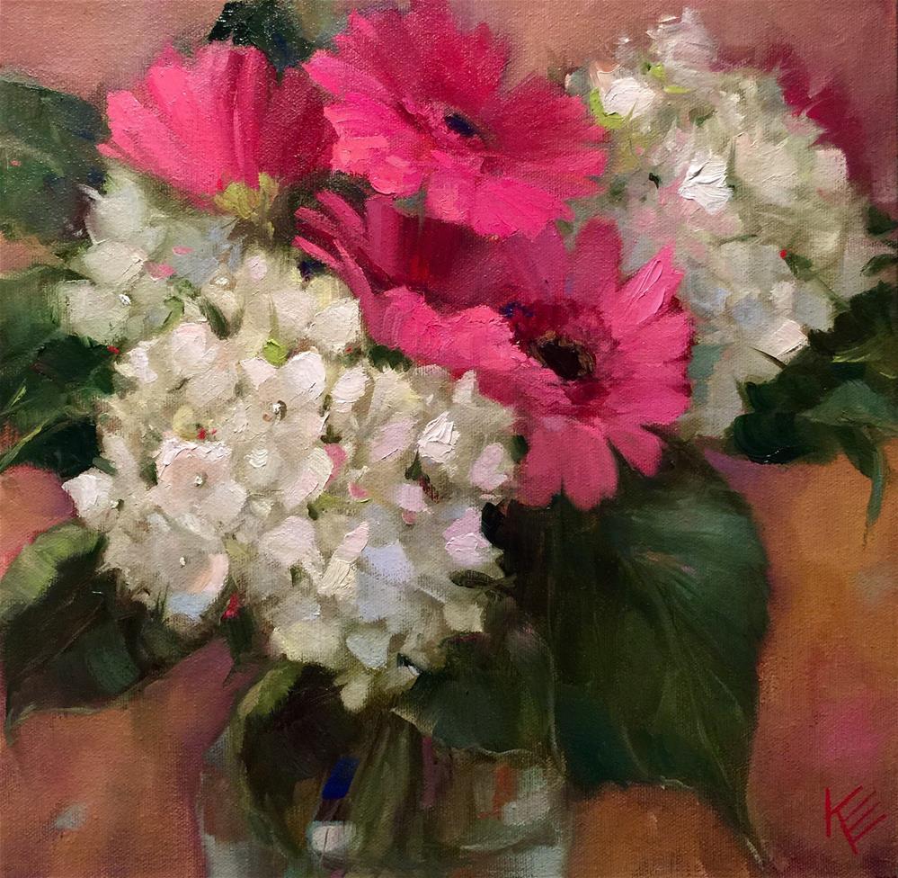 """""""Gerbers & Hydrangeas"""" original fine art by Krista Eaton"""