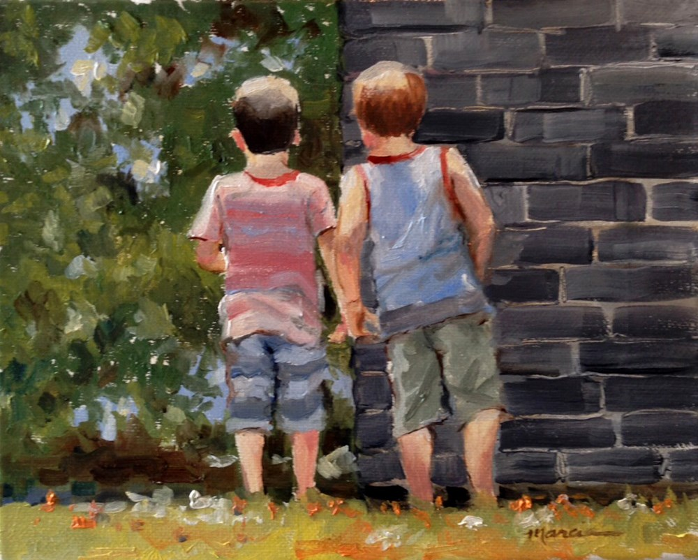 """""""Cousins and Snakes - NFS"""" original fine art by Marcia Hodges"""