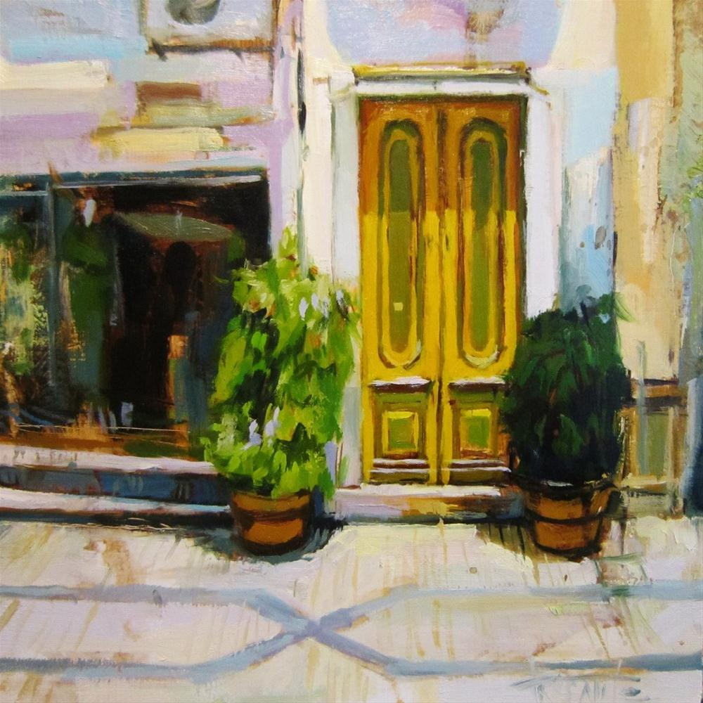 """Yellow door"" original fine art by Víctor Tristante"