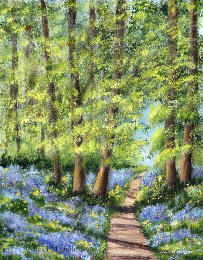 """Bluebell Woodlands"" original fine art by Janet Graham"