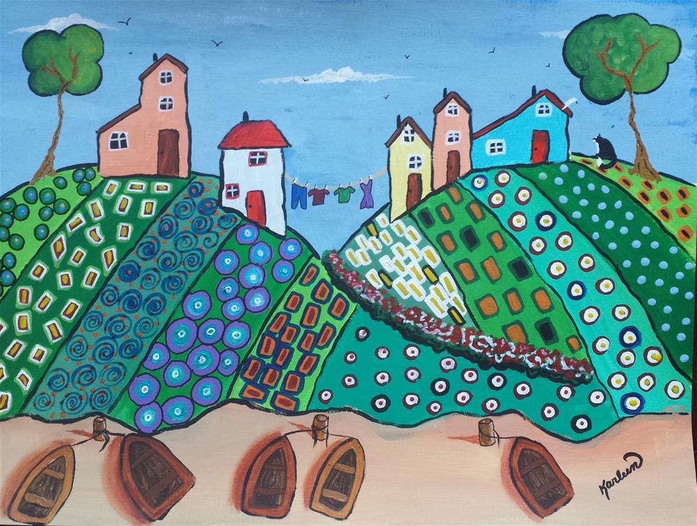 """Five Row Boats"" original fine art by Karleen Kareem"