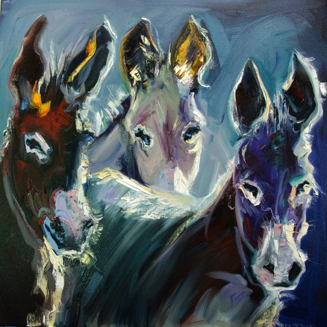 """ARTOUTWEST BURRO THREE Art Oil Painting Diane Whitehead Animal art"" original fine art by Diane Whitehead"