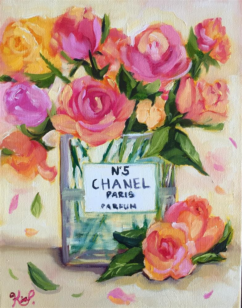 """COLORFUL ROSE BOUQUET IN CHANEL VASE"" original fine art by Kim Peterson"