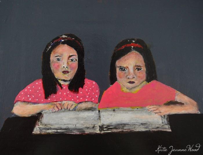 """Story Hour"" original fine art by Katie Jeanne Wood"