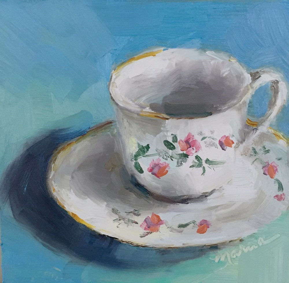 """My Prissy Cup of Coffee"" original fine art by Marcia Hodges"