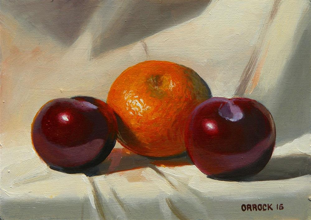 """Plums and citrus"" original fine art by Peter Orrock"