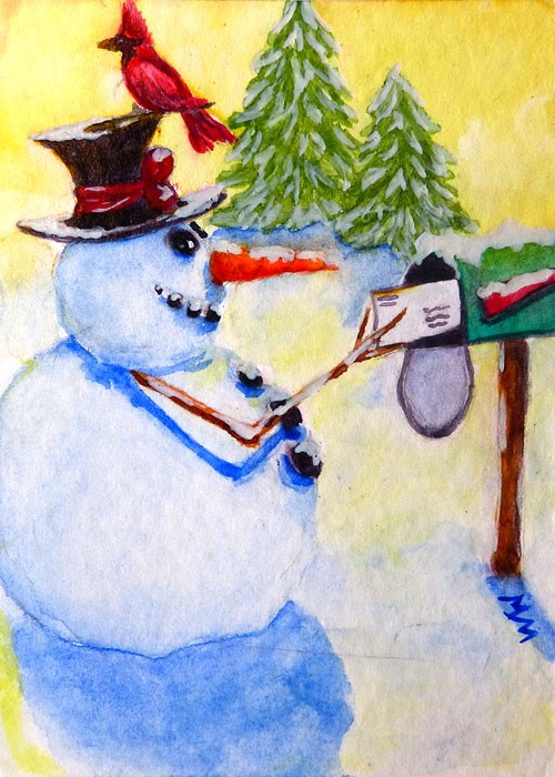 """Snowman Greetings"" original fine art by Monique Morin Matson"