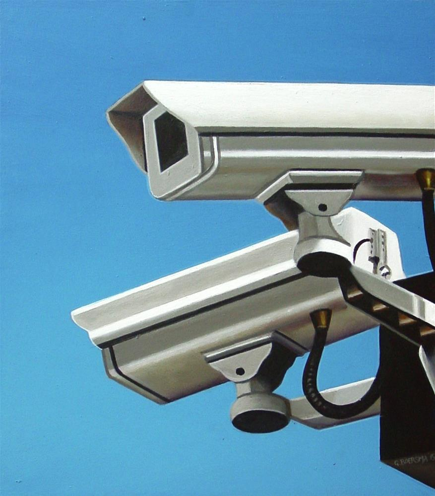 """Security Camera 24- Still Life Painting Of CCTV Surveillance Camera"" original fine art by Gerard Boersma"