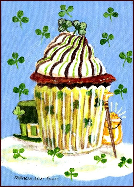 """St. Patty's Day Cupcake"" original fine art by Patricia Ann Rizzo"