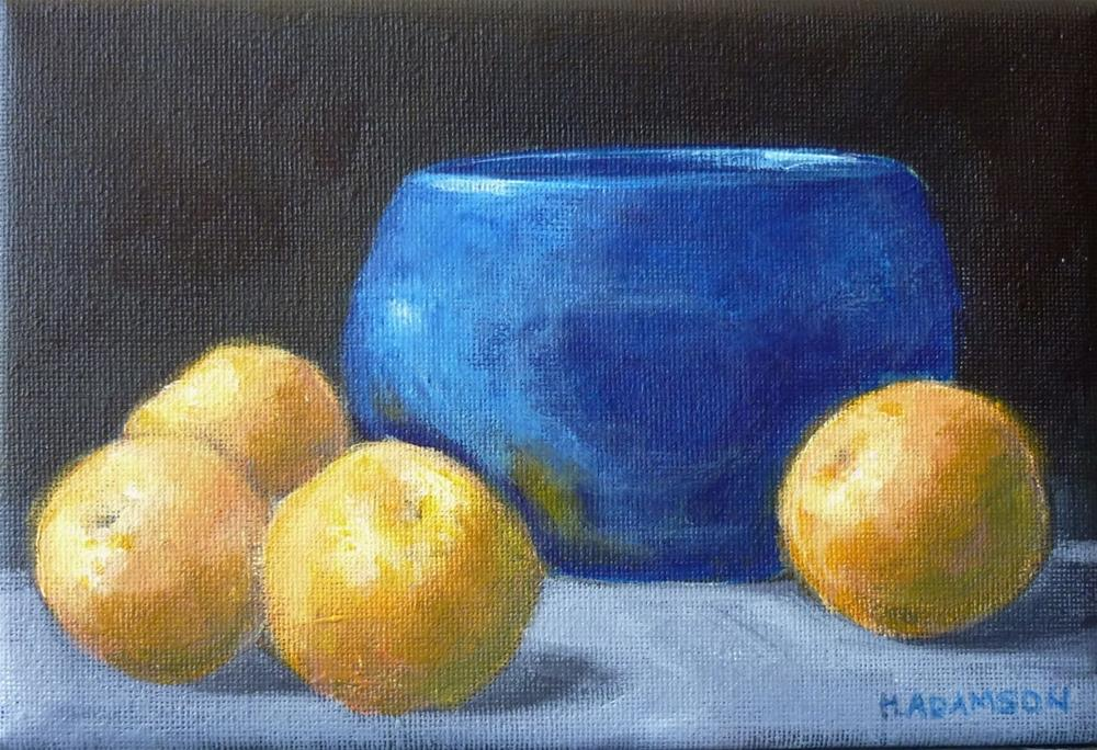 """Clementines and Blue Bowl"" original fine art by Helene Adamson"