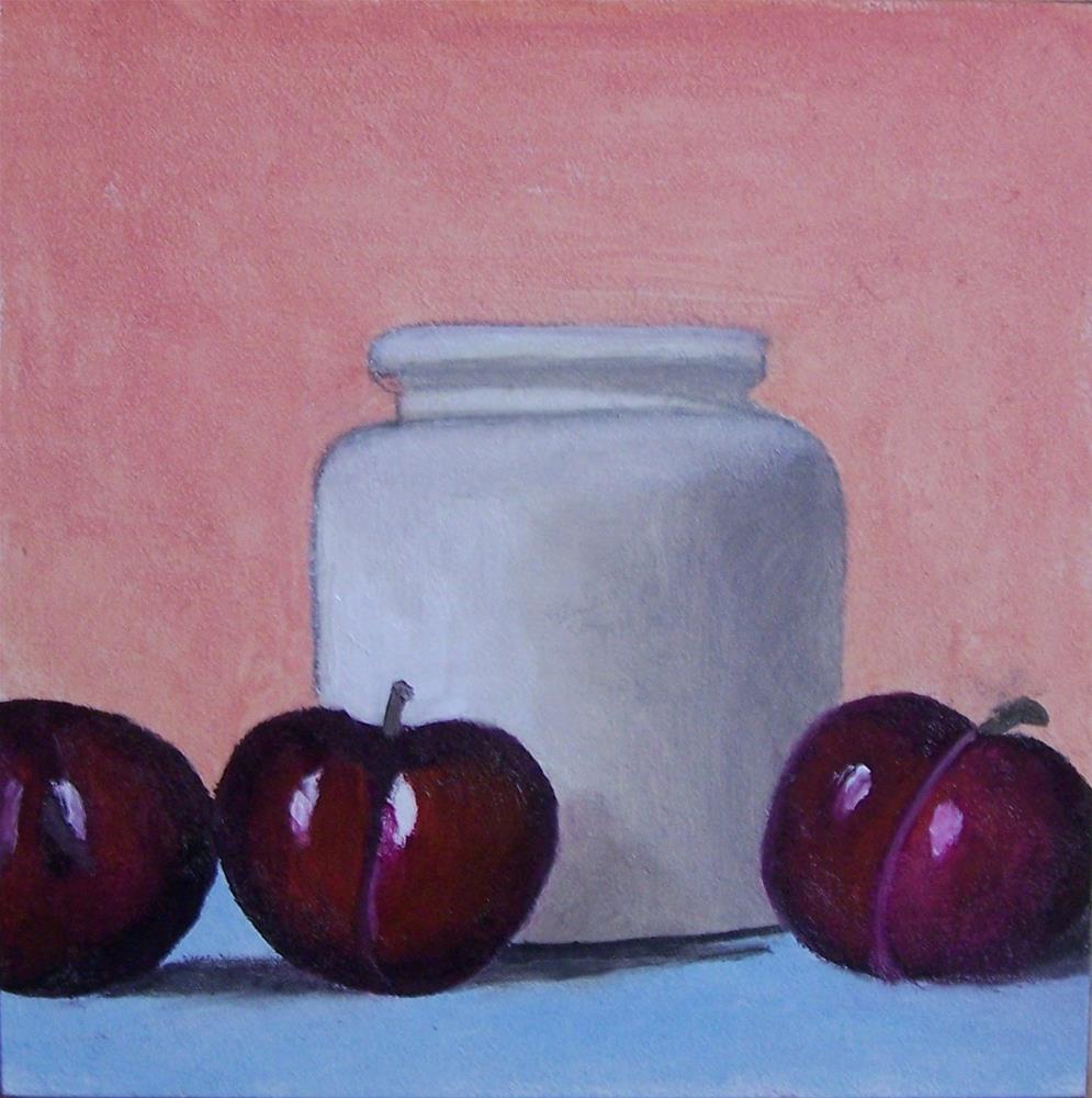 """Plums and Jar"" original fine art by John Marcum"