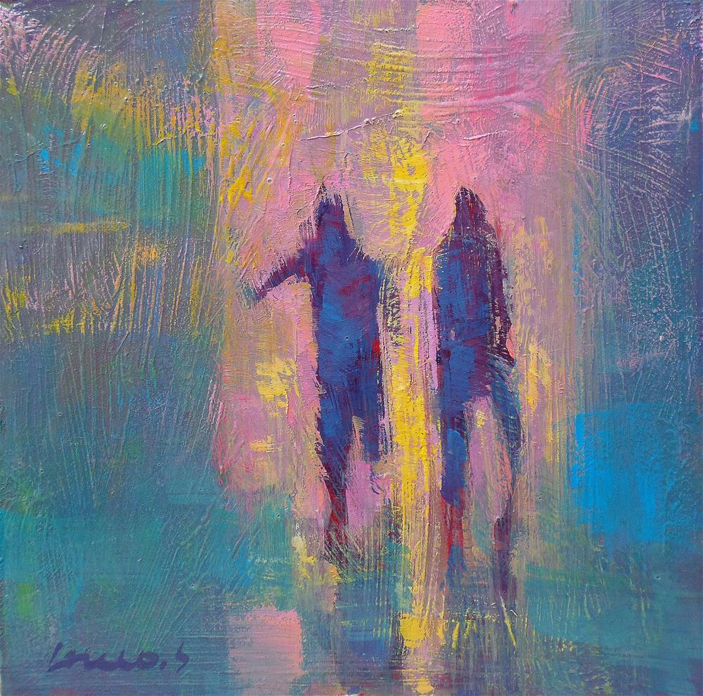 """Run in the rain"" original fine art by salvatore greco"