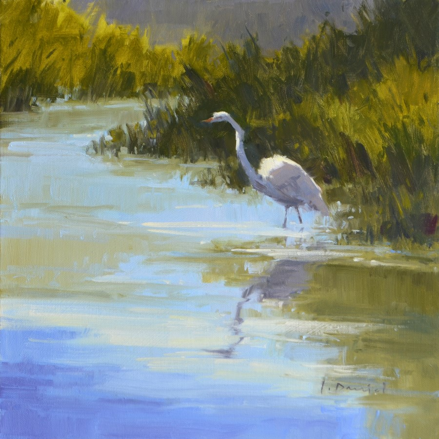"""Marsh Egret - Davis Gallery Holiday Show"" original fine art by Laurel Daniel"