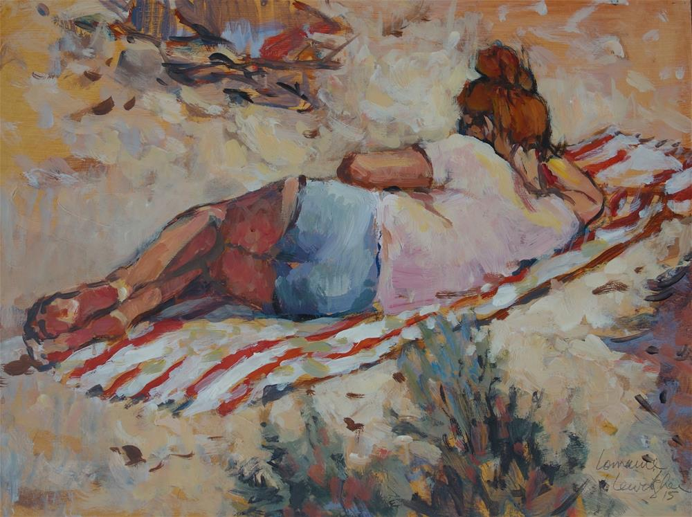 """Reading in the Sun"" original fine art by Lorraine Lewitzka"