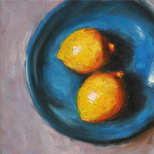 """Blue plate with lemons"" original fine art by Peter J Sandford"