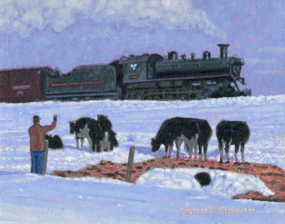 """Winter on the Farm"" original fine art by Donald Curran"