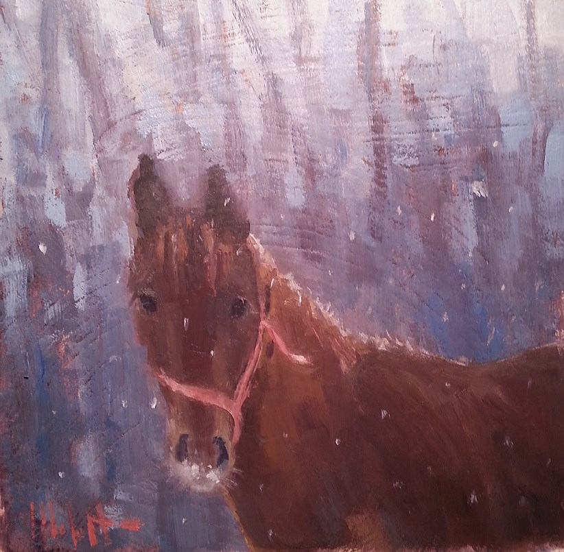 """Horse First Snow Original Oil Painting"" original fine art by Heidi Malott"