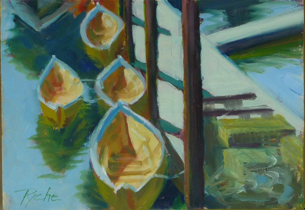 """Small Gloucester Dories 5x7"" original fine art by Mary Pyche"