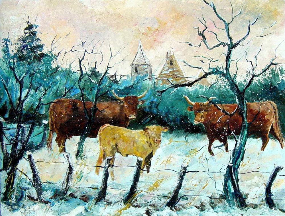 """cows in winter"" original fine art by Pol Ledent"