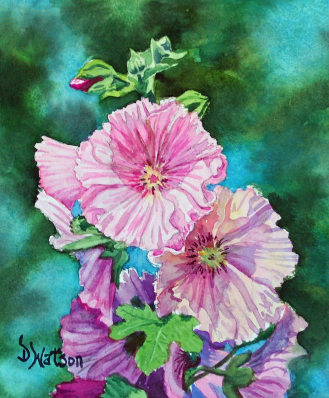 """Hollyhocks"" original fine art by Deb Watson"