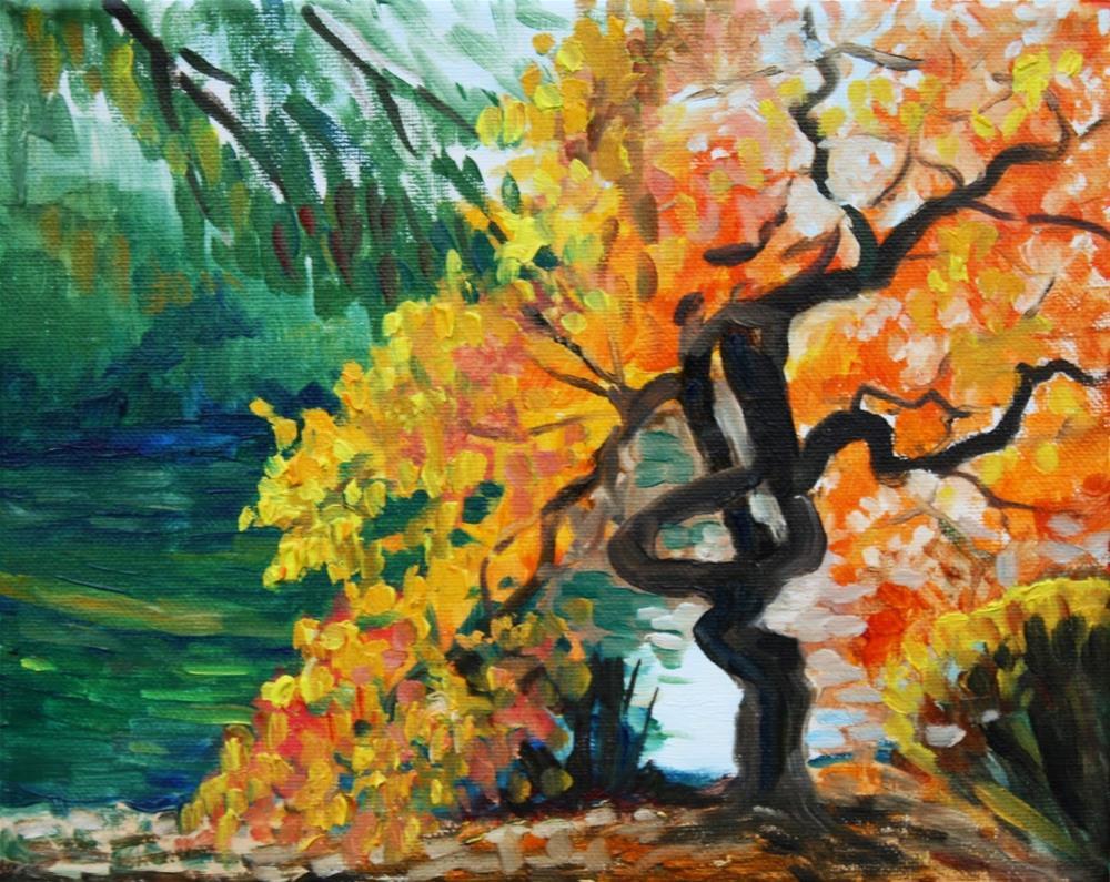 """Strange twisted tree by the river"" original fine art by Hilary J. England"