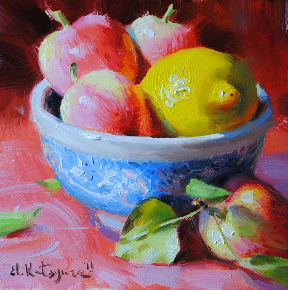"""August Apples"" original fine art by Elena Katsyura"