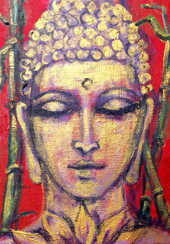 """Gold Buddha with lotus"" original fine art by Sonia von Walter"